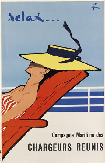 RENÉ GRUAU (RENATO DE ZAVAGLI, 1910-2004). RELAX . . . / CHARGEURS REUNIS. Circa 1950. 38x24 inches, 97x63 cm. Editions Bonsch, [Paris.