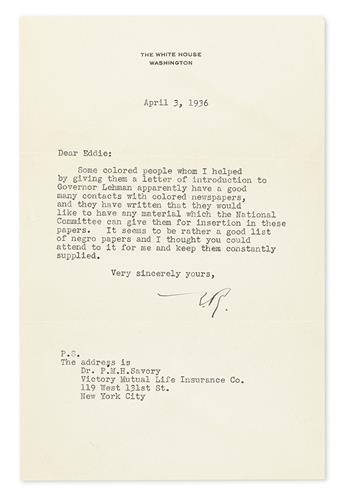 ROOSEVELT, ELEANOR. Typed Letter Signed, E.R., as First Lady, to Assistant Publicity Director of the Democratic National Committee Ed