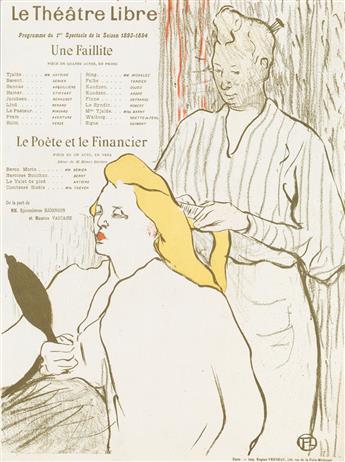 HENRI TOULOUSE-LAUTREC La Coiffure, Programme du Théâtre Libre.