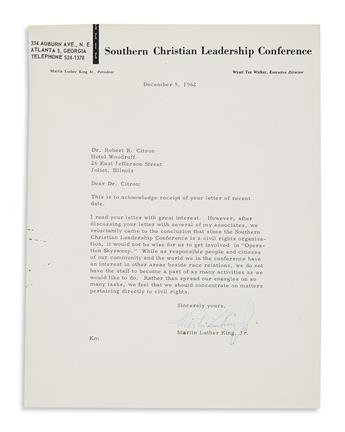 KING, MARTIN LUTHER, JR. A gracious response to what must have been a very unusual letter.