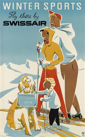 FREDY PLETSCHER (1919-?). WINTER SPORTS / FLY THERE BY SWISSAIR. 1953. 40x25 inches, 101x63 cm. Bollmann, Zurich.