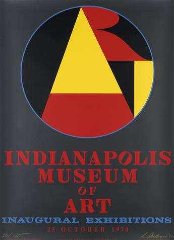 ROBERT INDIANA (1928- ). INDIANAPOLIS MUSEUM OF ART / INAUGURAL EXHIBITIONS. 1970. 44x32 inches, 113x91 cm. Domberger KG, West Germany.