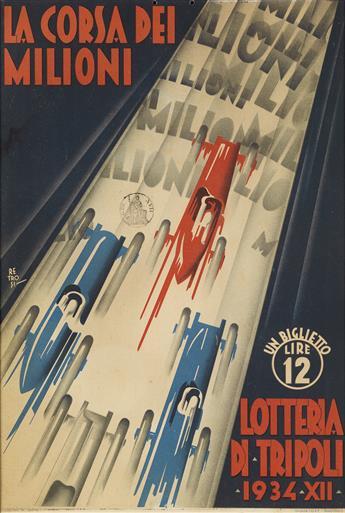 VIRGILIO RETROSI (1892-1975). LA CORSA DEI MILIONI / LOTTERIA DI TRIPOLI. Windowcard. 1934. 18x12 inches, 47x31 cm. I.G.A.P., Rome.