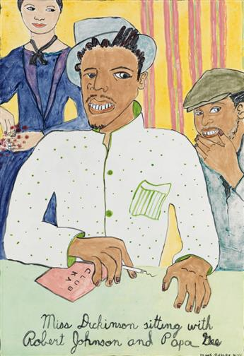 CAMILLE BILLOPS (1933 -   ) Miss Dickinson sitting with Robert Johnson and Papa Gee.