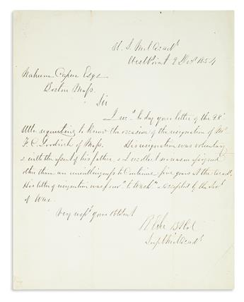 LEE, ROBERT E. Autograph Letter Signed, RELee Bt Col / SuptMilAcady, as Superintendent of the United States Military Academy, to Nah