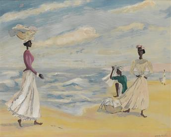 FRANK NEAL (1915 - 1955) Four Figures by the Sea.