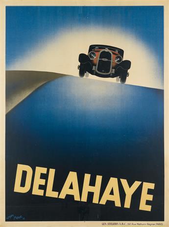 ROGER PÉROT (1906-1976). DELAHAYE. 1932. 62x46 inches, 158x118 cm. Les Ateliers A.B.C., Paris.