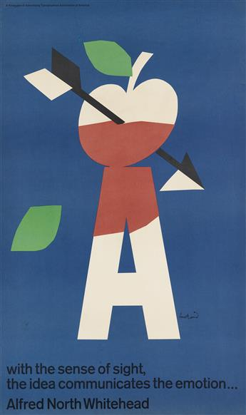 PAUL RAND (1914-1996). WITH THE SENSE OF SIGHT, THE IDEA COMMUNICATES THE EMOTION . . . 1965. 35x22 inches, 90x56 cm.