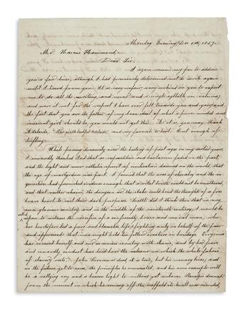 (SLAVERY AND ABOLITION.) Burton, Henry C. Stirring letter by a white abolitionist on the death of John Brown.
