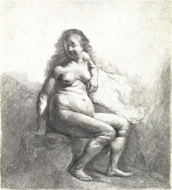 REMBRANDT VAN RIJN Nude Woman Seated on a Mound.