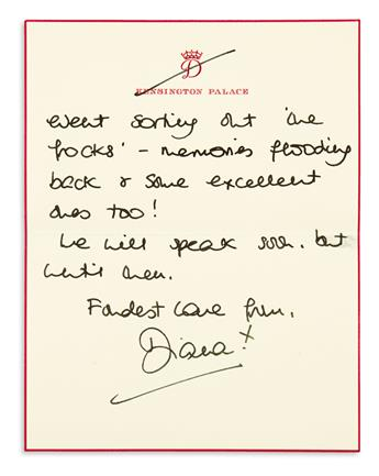 DIANA; PRINCESS OF WALES. Group of 6 Autograph Letters Signed, Diana, to Harpers Bazaar editor Elizabeth Tilberis,