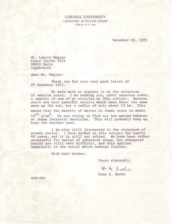 (SCIENTISTS.) BETHE, HANS A. Typed Letter Signed, H.A. Bethe, to László Magyar,