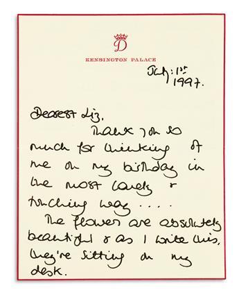 DIANA; PRINCESS OF WALES. Autograph Letter Signed, Diana, to Elizabeth Tilberis,