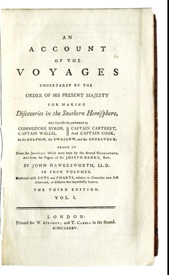 COOK, JAMES.  Hawkesworth, John. An Account of the Voyages . . . for making Discoveries in the Southern Hemisphere. 4 vols. 1785