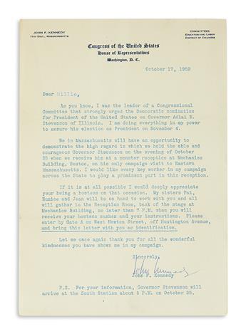 KENNEDY, JOHN F. Typed Letter Signed, John Kennedy, as Representative, to Dear Millie,