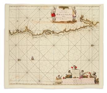 KEULEN, JOHANNES van. Pas-Kaart van de Zee-Kusten van Brazilia, Tuschen Punto de Lucena en Cabo S. Augustino.