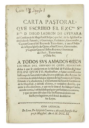 (PERU.) Ladron de Guevara, Diego. Carta pastoral . . . a todos sus amados hijos los fieles del obispado de Quito.