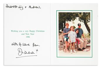 DIANA; PRINCESS OF WALES. Christmas card Signed and Inscribed: Dearest Liz & Andrew / Lots of love from / Diana.