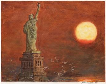WILLIAM ARTHUR SMITH. Statue of Liberty at Sunrise.