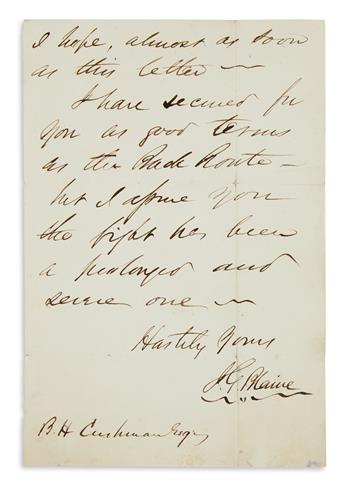 (CIVIL WAR.) JAMES G. BLAINE. Autograph Letter Signed, J.G. Blaine, to Androscoggin Railroad Superintendent Benjamin H...