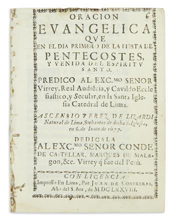 (PERU.) Perez de Lizardi, Ascensio. Oracion evangelica que en el dia primero de la fiesta de Pentecostes, y venida del Espíritu Santo.