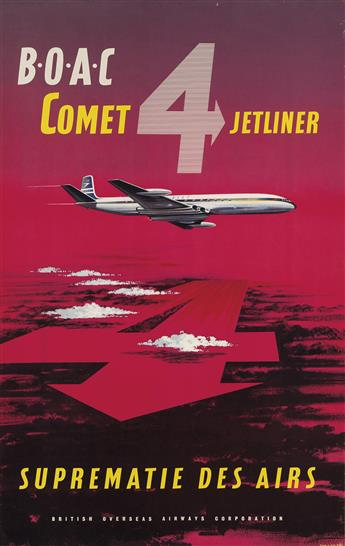 VARIOUS ARTISTS. [AIRLINES.] Two posters. 1958 & 1959. Each approximately 39x25 inches, 101x63 cm.