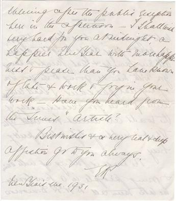 ROOSEVELT, ELEANOR. Autograph Letter Signed, E.R., to FDRs instructor at Groton George Marvin (George dear),