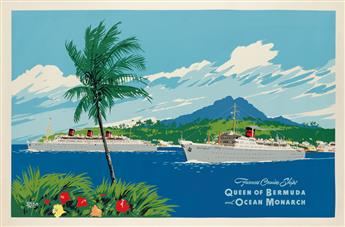 ADOLPH TREIDLER (1886-1981). FURNESS CRUISE SHIPS / QUEEN OF BERMUDA AND OCEAN MONARCH. Circa 1950s. 40x61 inches, 103x156 cm.