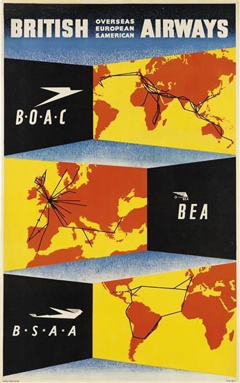 DESIGNER UNKNOWN. BRITISH AIRWAYS / B•O•A•C BEA B•S•A•A. 1947. 40x25 inches, 101x63 cm.
