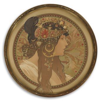ALPHONSE MUCHA (1860-1939). [TÊTE BYZANTINE / BRUNETTE.] Circa 1897. 12 inches in diameter, 31 cm in diameter. [F. Champenois, Paris.]