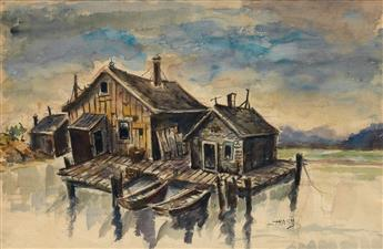 DOX THRASH (1893 - 1965) Untitled (Two Cabins on the Water).
