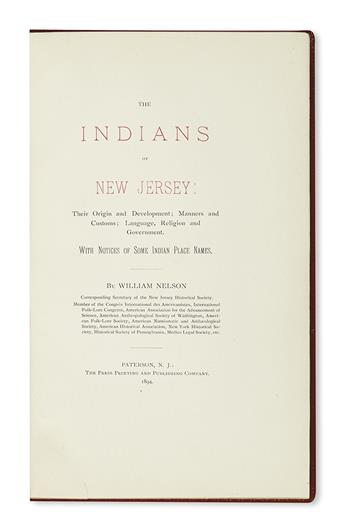 (AMERICAN INDIANS.) Nelson, William. The Indians of New Jersey.