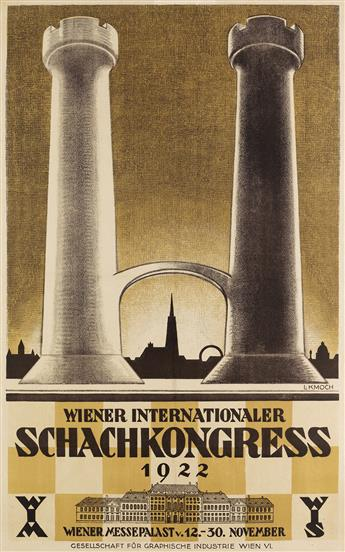 LUDWIG KMOCH (1897-1971). WIENER INTERNATIONALER SCHACHKONGRESS. 1922. 33x20 inches, 84x52 cm. Gesellschaft fur Graphische Industrie, V