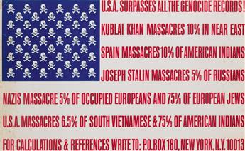 GEORGE MACIUNAS (1931-1978). U.S.A. SURPASSES ALL THE GENOCIDE RECORDS! 1969. 21x34 inches, 54x87 cm.