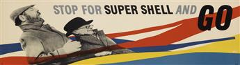 ZÉRÓ (HANS SCHLEGER, 1898-1976). STOP FOR SUPER SHELL AND GO. Circa 1950. 12x44 inches, 30x111 cm.