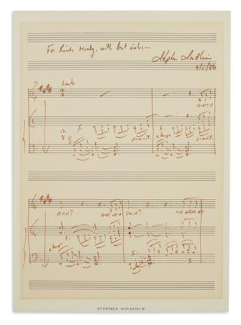 SONDHEIM, STEPHEN. Autograph Musical Quotation Signed and Inscribed, For Linda Moody, with best wishes, the first 4 bars of his Send
