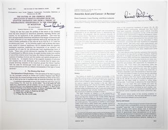 (SCIENTISTS.) PAULING, LINUS. Two offprints, each an article by him Signed, on the first page: The Nature of the Chemical Bond * Asc