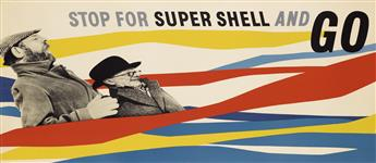 ZÉRÓ (HANS SCHLEGER, 1898-1976). STOP FOR SUPER SHELL AND GO. Circa 1950. 20x45 inches, 50x116 cm.