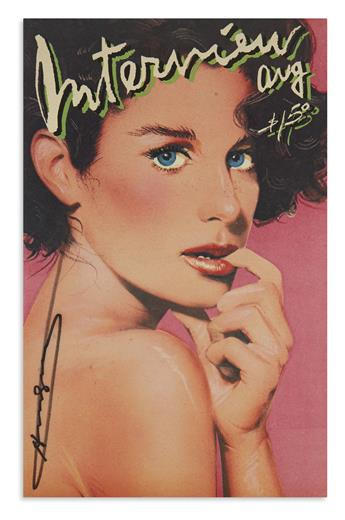 WARHOL, ANDY. Two complete issues of Interview magazine, each Signed, one additionally Inscribed to Mickey Tinter (To Boy Tinter).
