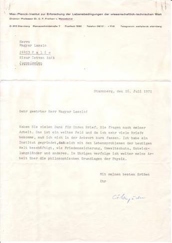 (SCIENTISTS.) WEIZSÄCKER, CARL FRIEDRICH VON. Typed Letter Signed, CFWeizsäcker, to László Magyar, in German,