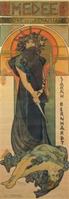 ALPHONSE MUCHA (1866-1939). MEDEE / SARAH BERNHARDT. 1898. 82x30 inches, 208x76 cm. Champenois, Paris.