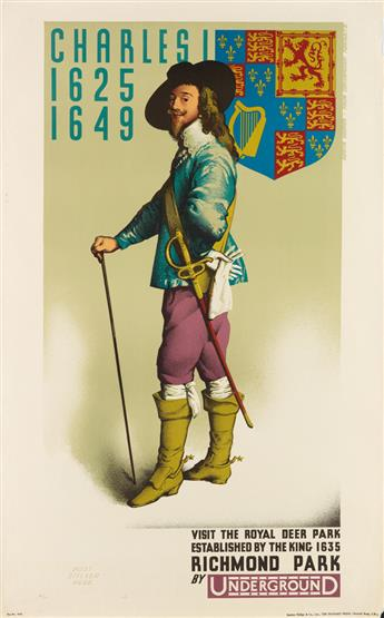 AUSTIN COOPER (1890-1964). RICHMOND PARK BY UNDERGROUND / CHARLES I. 1931. 40x25 inches, 101x63 cm. The Baynard Press, [London.]