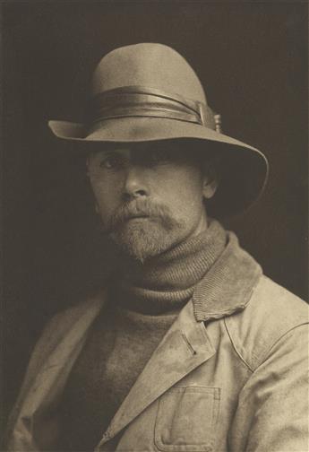 EDWARD S. CURTIS (1868-1952) Self-portrait in felt hat.