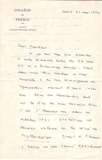 (SCIENTISTS.) LÉVI-STRAUSS, CLAUDE. Autograph Letter Signed, to László Magyar, in French,