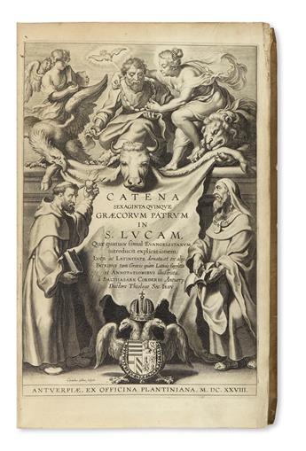 CORDIER, BALTHASAR, S. J., editor. Catena sexaginta quinque Graecorum Patrum in S. Lucam.  1628