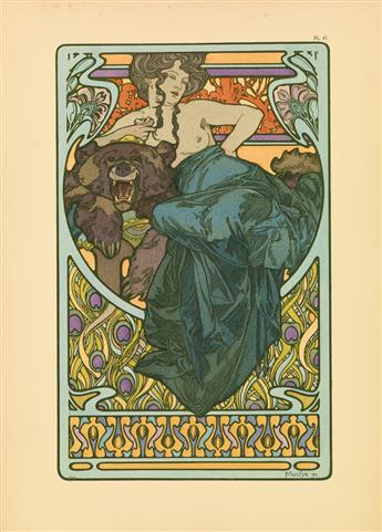 ALPHONSE MUCHA (1860-1939). DOCUMENTS DÉCORATIFS. Complete portfolio with 72 plates. 1902. Each plate approximately 18x13 inches, 45x33