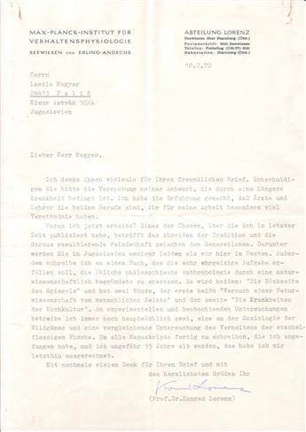 (SCIENTISTS.) LORENZ, KONRAD. Typed Letter Signed, to László Magyar, in German,