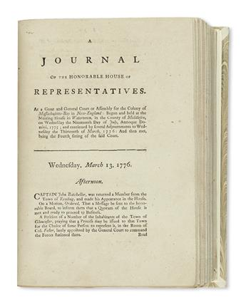 (AMERICAN REVOLUTION--1775.) A Journal of the Honorable House of Representatives . . . of Massachusetts-Bay.