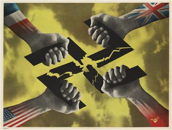 FREDERIC HENRI KAY HENRION (1914-1990). [ALLIED HANDS BREAKING SWASTIKA.] 1944. 20x26 inches, 50x66 cm.