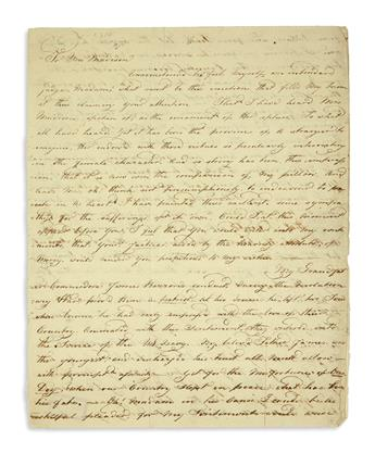 (NAVY.) Barron, Jane W. Letter to Dolley Madison, seeking a patronage post for her father.